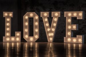 The word Love made from lightbulbs